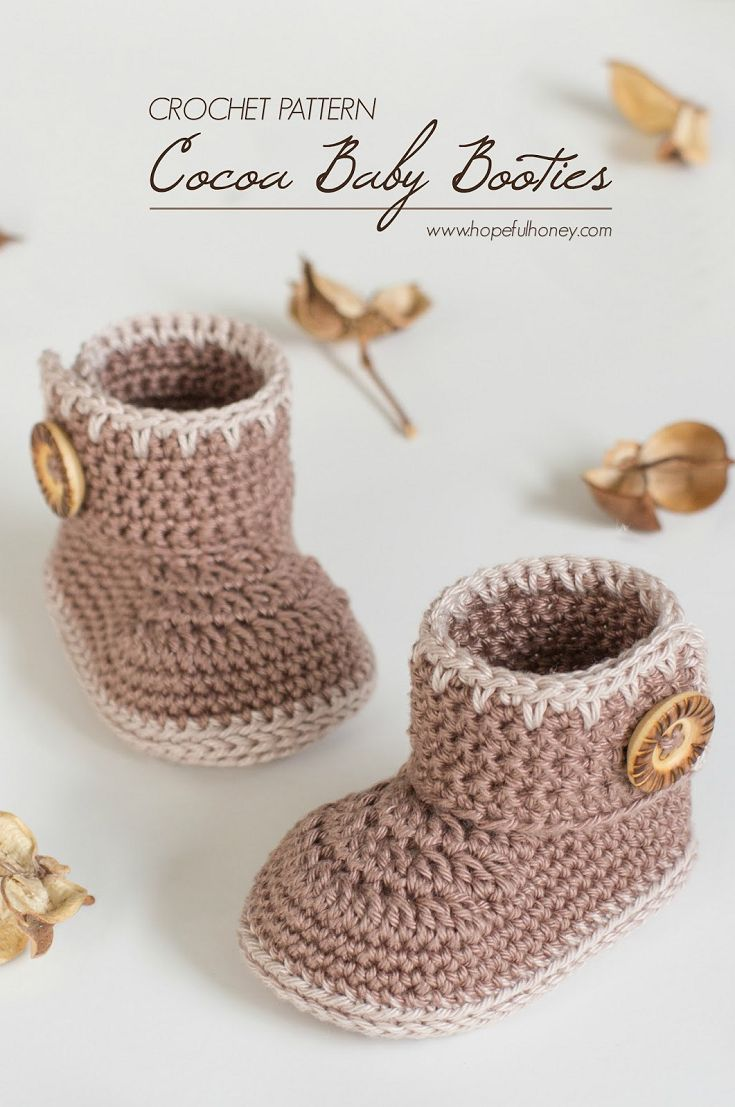 Cocoa Baby Ankle Booties - Free Crochet Pattern (via Hopeful Honey)