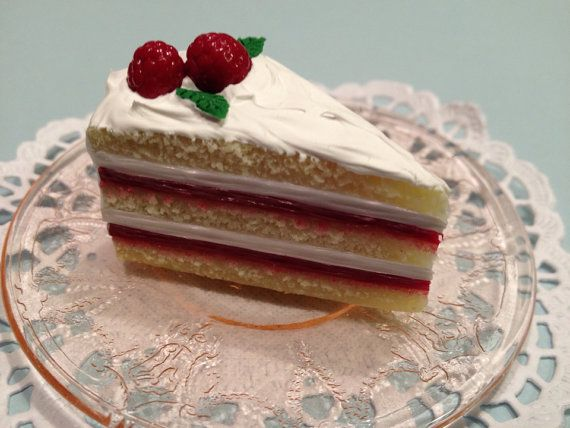 """Polymer Clay Raspberry and Cream Layer Cake Slice for 18"""" Dolls ..."""