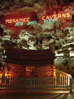 Missouri hideouts and hangouts  Meramec Caverns, Stanton, Missouri: Meramec was a longtime must-see on All-American road trips, and pop culture still lurks everywhere on the cave tour. Jesse James hid out along the underground river. A side room hosted honeymooners for 10 days in a 1950s' TV stunt, and an episode of Lassie--the one where Lassie rescues Timmy--was filmed inside.