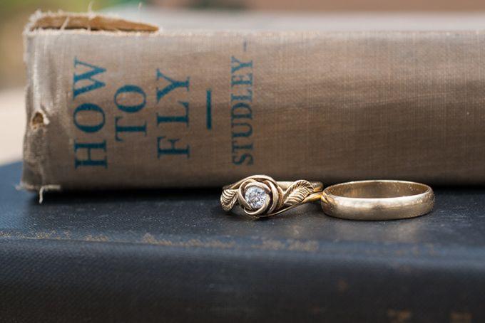 Peter Pan Wedding Inspiration. Unique Rose Flower Engagement Ring.