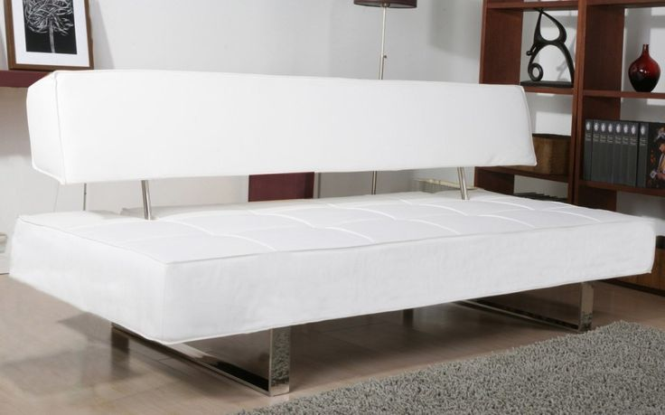 Cheap Sofa Beds for Your Modern Home: Pretty Modern White Cheap Sofa Beds Chrome Leg Grey Carpet ~ anahitafurniture.com Furniture Inspiration