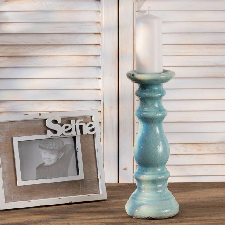 Świecznik Aira Mint wys. 33cm, 33cm - Dekoria #Candlesticks #swieczki #swieczniki #home #dom #decoration #inspiration #livingroom #dekoracje #interior