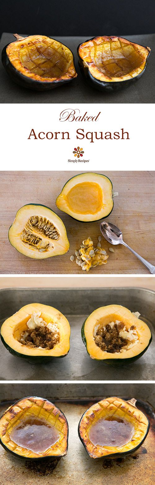 Fall and holiday favorite, baked acorn squash, so easy! On SimplyRecipes.com Vegetarian, gluten-free, a classic for Thanksgiving!: