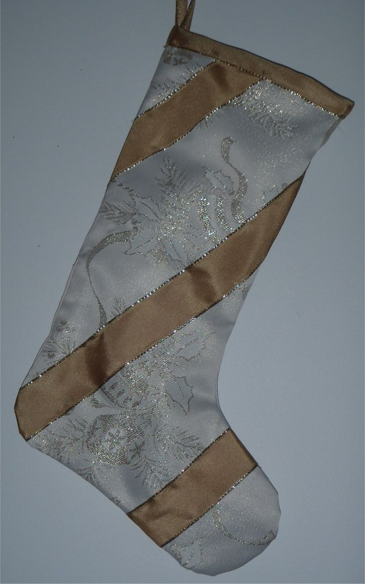 201652 - Christmas stocking - gold/ivory embroidered fabric, gold ribbon stripe SOLD