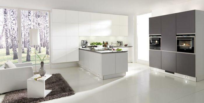 küchendesign nolte küche weiß grau teppich