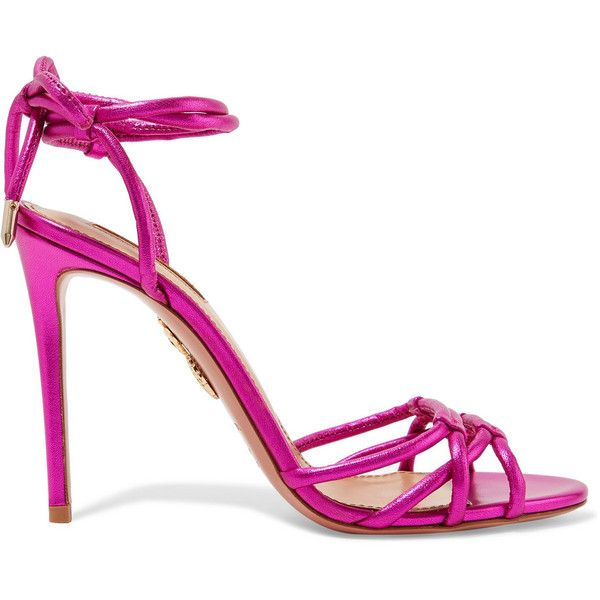 Aquazzura Laura metallic leather sandals ($680) ❤ liked on Polyvore featuring shoes, sandals, aquazzura, tie sandals, metallic sandals, leather shoes, pink high heel shoes and high heeled footwear