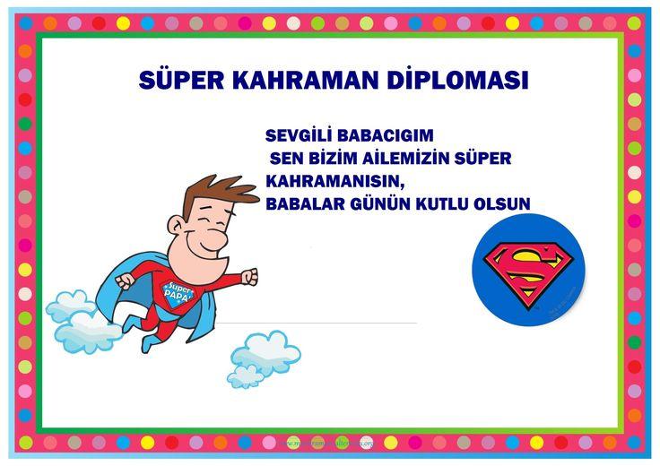 Anasınıfları İçin Babalar Günü Diploması Kalıbı - Okul Öncesi Etkinlik Faaliyetleri - Madamteacher.com