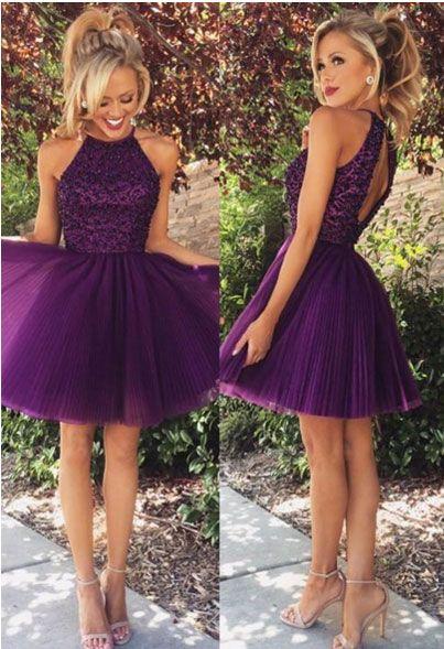 Resultado de imagen para vestidos de fiesta cortos para adolescentes morado