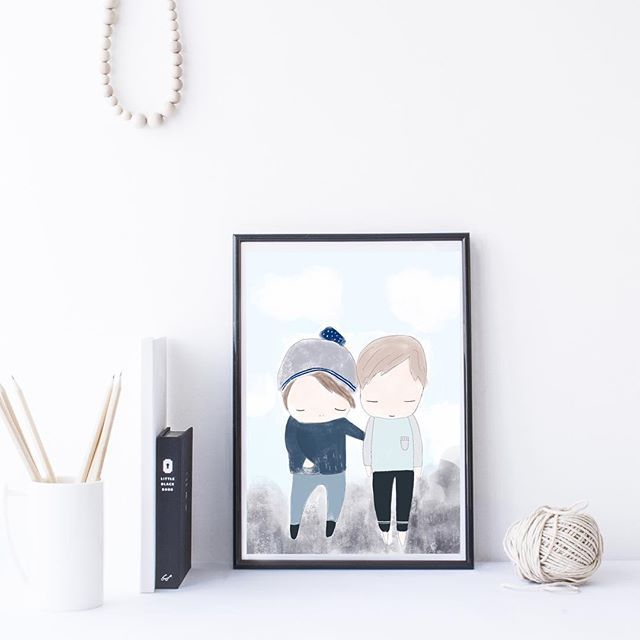 For those who have asked 'Brothers' print has now been listed in our etsy shop #myhiddenforest #etsy #etsyau #handmade #nursery #shelfie #supportlocal #supportlocalartists #supportsmallbusiness #kidsprint