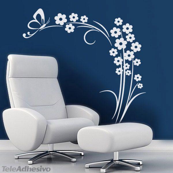 Vinilo decorativo floral blanco sobre fondo azul.