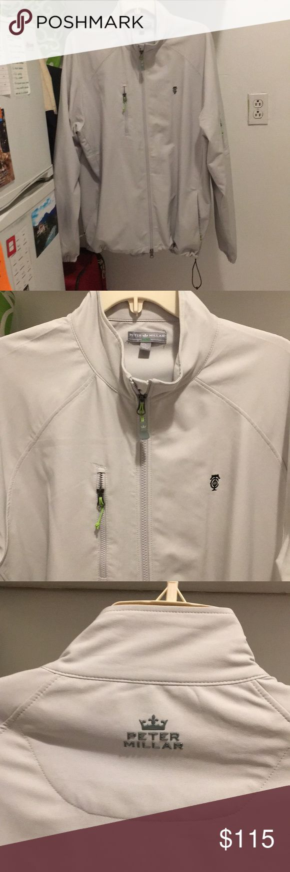 "Peter Millar Men's jacket Never-worn, Men's Peter Millar sporty jacket. Perfect for the gold course, tennis court, or any daily activity. Great, neutral color with catchy green detail on zippers. Emblem on upper left is ""OTC""—stands for Old Town Club, golf course in North Carolina recently globally ranked. Peter Millar Jackets & Coats Lightweight & Shirt Jackets"