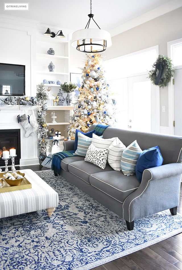 Christmas Home Tour Living Room With Blue White And Gold Blue Living Room Decor Blue And Gold Living Room Silver Living Room