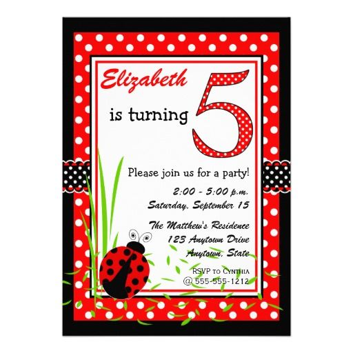 Cute Ladybugs 5th Birthday - Red White Card
