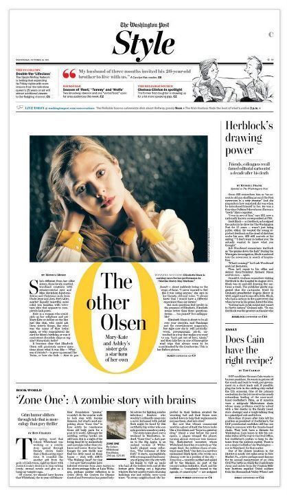 "Pulling out the beautiful yellow tone in Elizabeth Olsen's outfit really makes this layout ""pop.""     i like the headline in the middle"