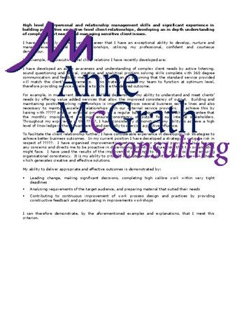 Management - High level interpersonal relationship management skills – Professional Resumes @ Anne McGrath Consulting