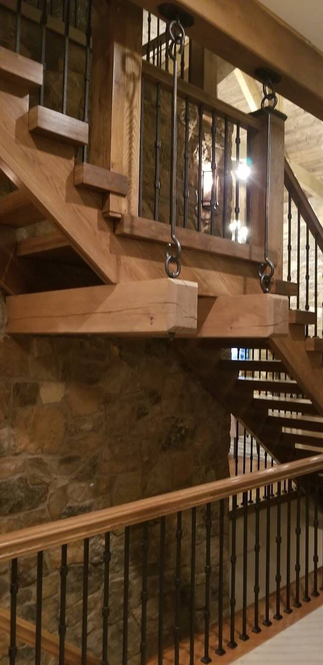 Best A Step Above Rustic White Oak Staircase With Custom Iron 400 x 300