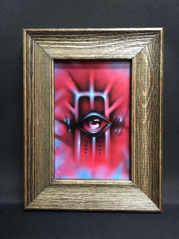 Original Eye painting framed Airbrush