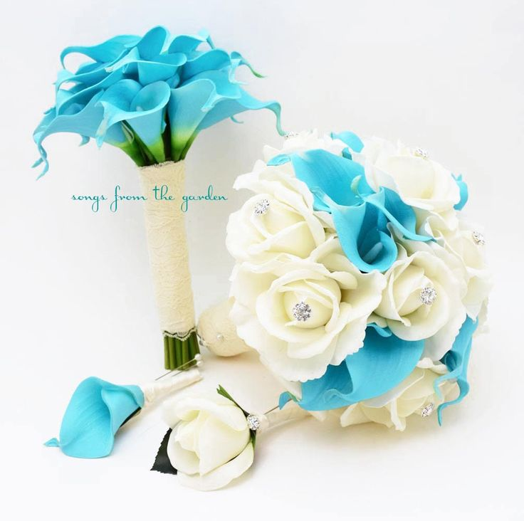 Blue White Real Touch Bridal Bouquet, Groom's Boutonniere, Maid of Honor Bouquet and Best Man Boutonniere
