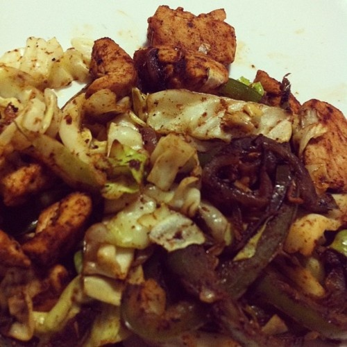 Chicken fajitas with cabbage