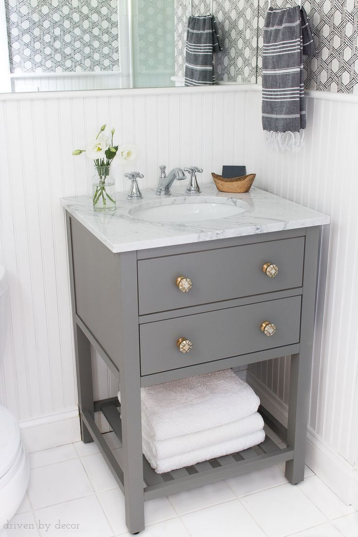 The Perfect Vanity For Replacing A Pedestal Sink It S Only 25 So Fits In Small Spaces And With Images Small Bathroom Wallpaper Guest Bathroom Small Small Bathroom Decor