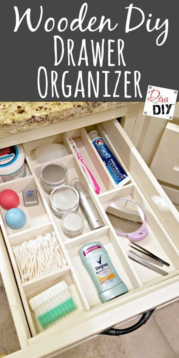 get organized with this wooden diy drawer organizer