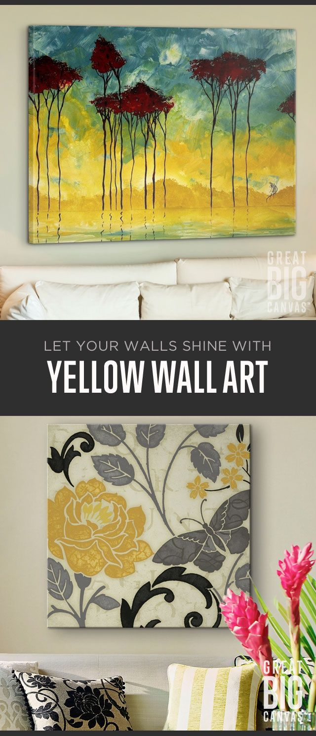 Yellow offers a spot of sunshine and celebration wherever it appears. Create ambiance that brings a smile and instantly brightens every room. Explore our collection of best selling yellow wall art at GreatBIGCanvas.com.