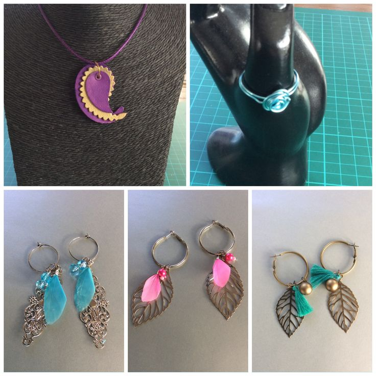 Jewelry, necklace, sizzix, leather, ring, aluwire, earrings, feather