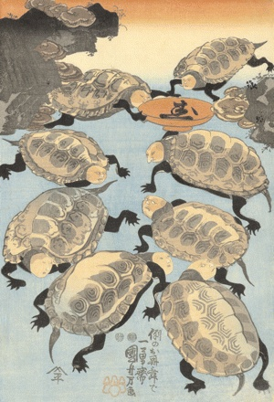 "Utagawa Kuniyoshi, ""Turtle Fun: Utagawa Kuniyoshi was one of the last great masters of the Japanese ukiyo-e style of woodblock prints and painting. He was a member of the Utagawa school"