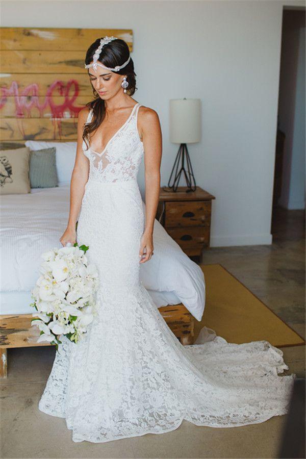 Deep V Neck Sleeveless Mermaid Lace Summer Wedding Dress Bohemian Open Back Boho Bridal Dresses- ...