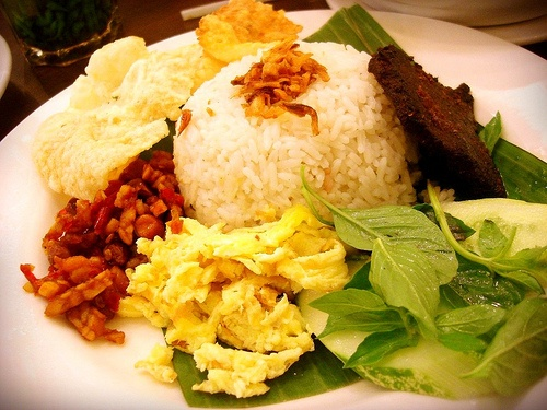 Nasi Uduk (coconut rice) with empal. Another favorite!   Indonesian Food