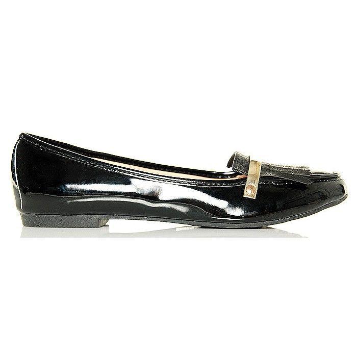 Balerinki Czarne Lakierowane Frędzle - Złoty Pasek - www.BUU.pl #style #fashion #black