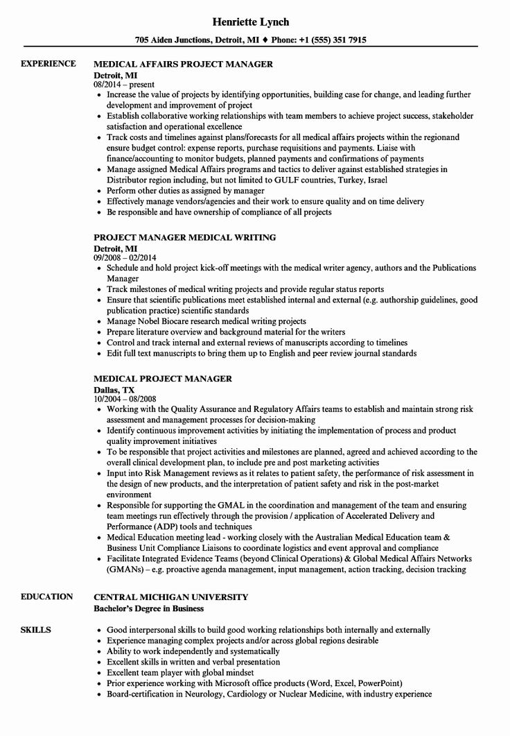 Healthcare Project Manager Resume Luxury Medical Project