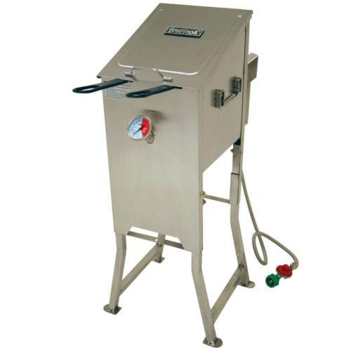 Bayou-Classic-4-Gallon-Stainless-Steel-Propane-Deep-Fryer-2-Baskets-Regulator