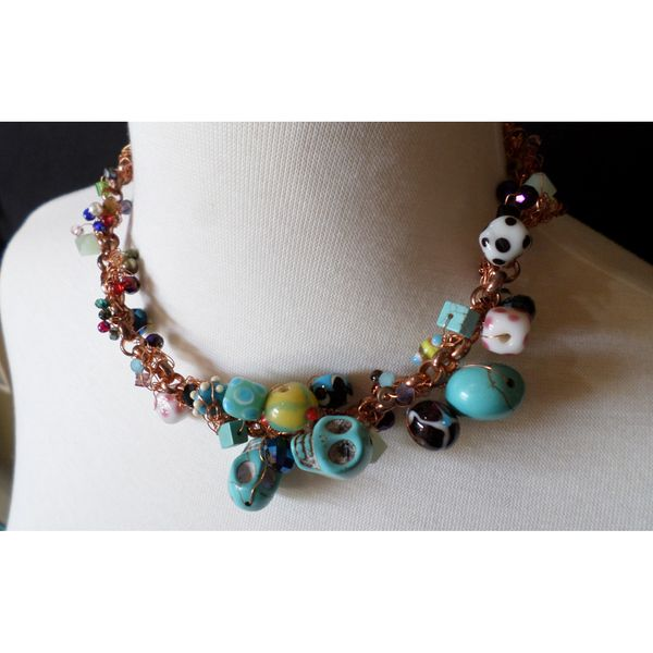 """an asymmetrical handmade necklace at String Theory Designs' online store - """"Galactica"""" only $95 - one of a kind"""