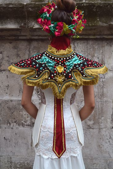 """SEVALI """"Desolated Celebration"""" collection. 2012. Fashion collection inspired by Latin American virgins costumes and a religious celebration that takes place in the north of Chile called """"La Tirana"""". It presents a mixture of cultures and aesthetic languages."""