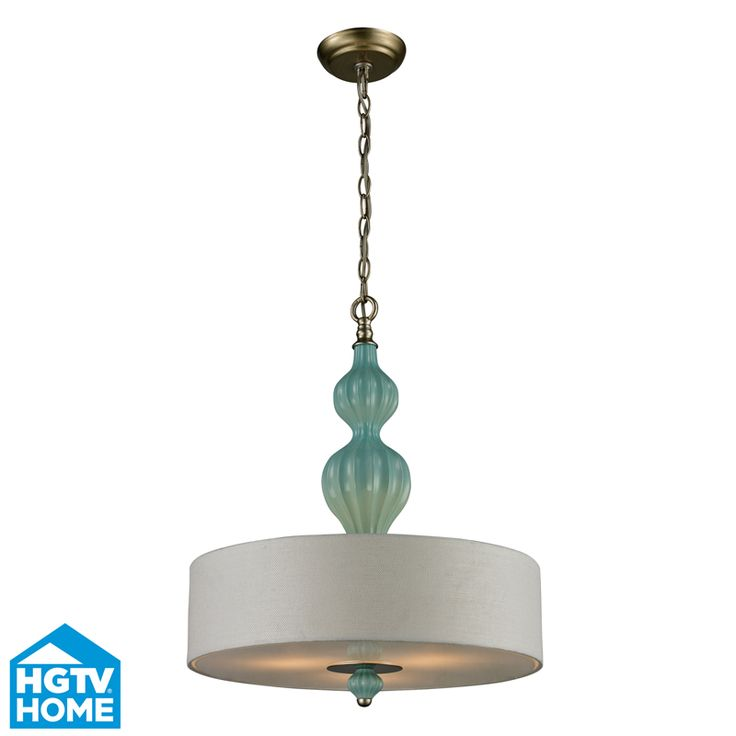 lilliana 3 light pendant in seafoam and aged silver includes recessed lighting kit