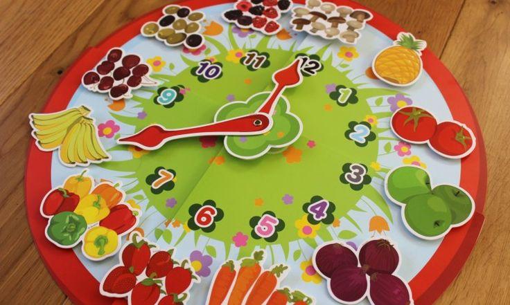 """Zegar na rzepy dla maluchów - ruchome wskazówki, trzy zestawy """"cyferek"""" do mocowania, w tym owocowe dla początkujących <3"""