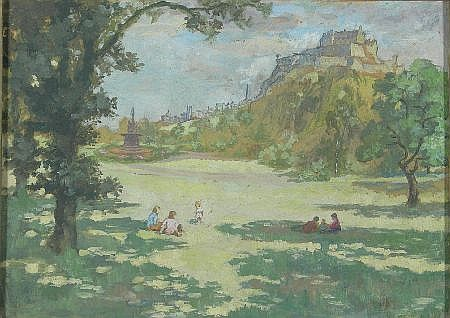 ALICE MAY COOK (SCOTTISH 1876-1960) THE CASTLE FROM PRINCES STREET GARDENS, EDINBURGH 25cm x 35cm (10in x 13.75) http://www.invaluable.com/auction-lot/alice-may-cook-scottish-1876-1960-the-castle-fr-92-c-a7340048ee