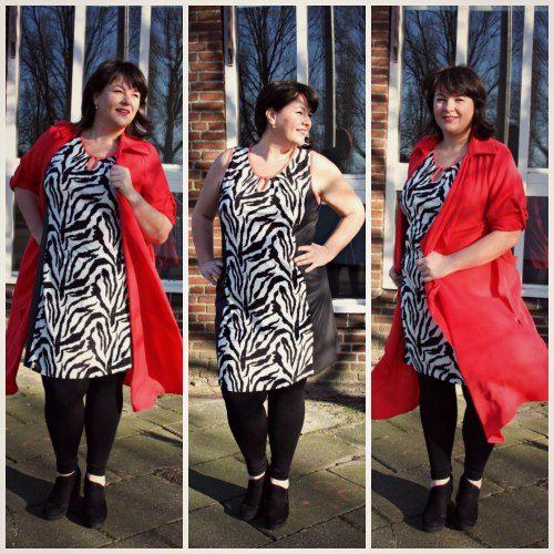 zebraprint mouwloze jurk, oranje trenchcoat, Anne;s fashion, grote maten dameskleding