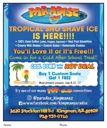 Cool down with a Tropical Sno Shaved Ice🍧from #ParadisePop in Kingman!  #adspay #coffee #shakes #snocones #smoothies #customsodas #hotdeals