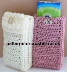 Free crochet pattern for pocket pack tissue cover from http://www.patternsforcrochet.co.uk/pocket-pack-tissue-cover-usa.html