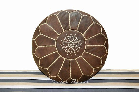 Moroccan Genuine Leather Pouffes Footstools Handmade Ottoman
