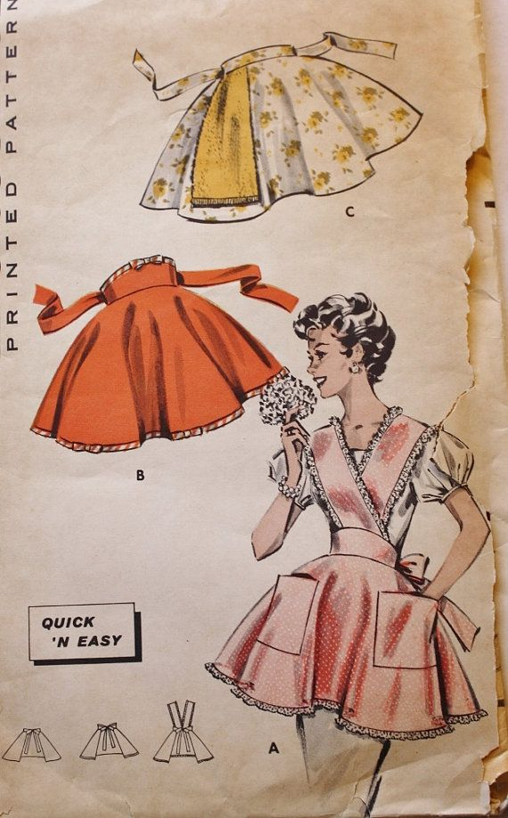 Vintage Sewing Pattern 1950s Quick N Easy Dainty Aprons Butterick 8797 One Size on Etsy, $25.00