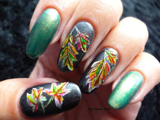 Fife Fantasi Nails : Colourful leaves nail design - 783 Best Nail Art - Fall, Autumn And Halloween Images On Pinterest