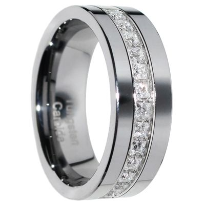 Tungsten Carbide Ring, 13 Princess Cut created Diamonds, Pipecut Band, Wedding Ring, Polished Mirror Finish, Men Ring, Groom Ring, Comfort Fit.