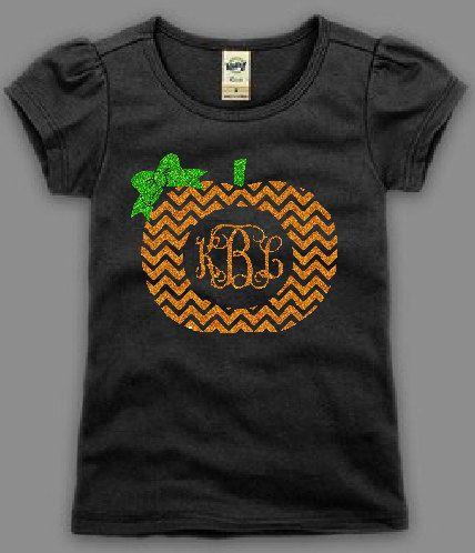 Personalized Pumpkin Shirt, Halloween Shirt, Monogrammed Pumpkin Shirt by FleurdeBling on Etsy