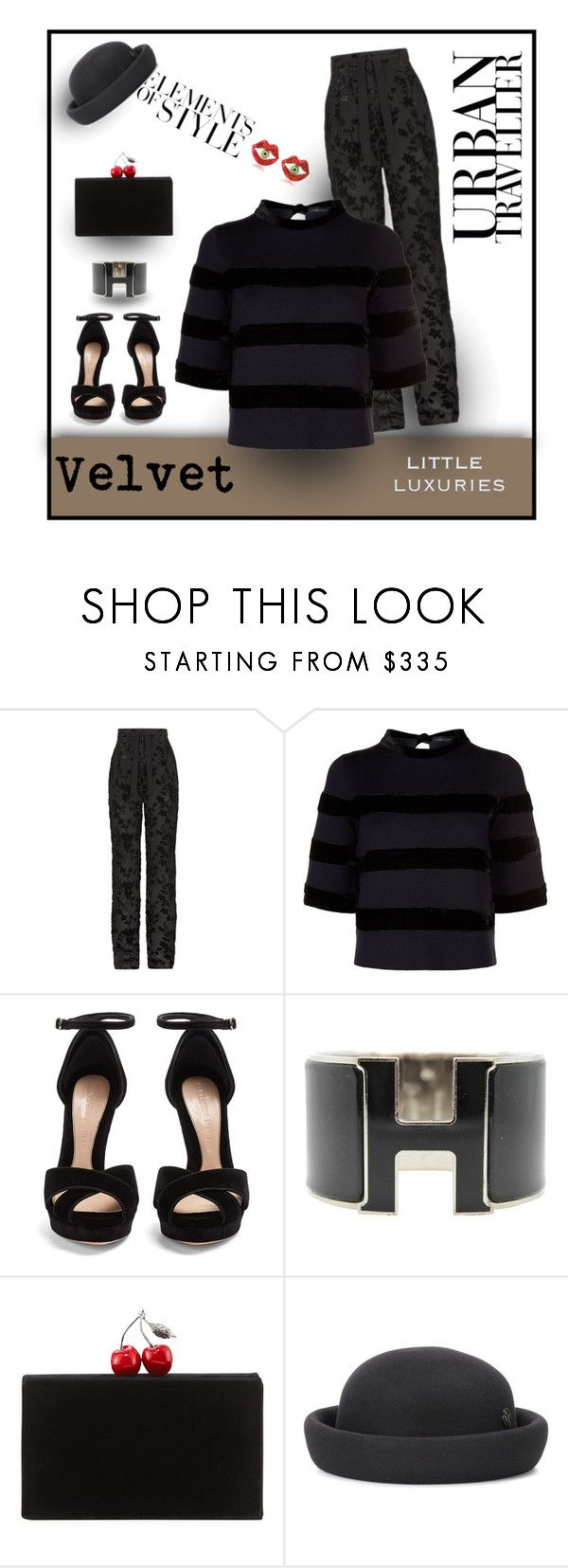 """""""Soft to Touch"""" by michelletheaflack ❤ liked on Polyvore featuring Etro, Maje, Alexander McQueen, Hermès, Edie Parker, Vera Wang, Maison Michel, Bernard Delettrez, velvet and styleinsider"""