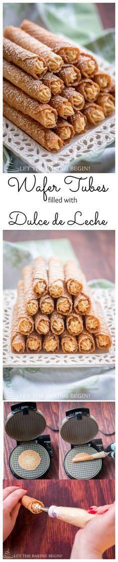 Deliciosos, ligeros y crocantes estos enrollados de wafer rellenos de dulce de leche y espolvoreados con azúcar impalpable.