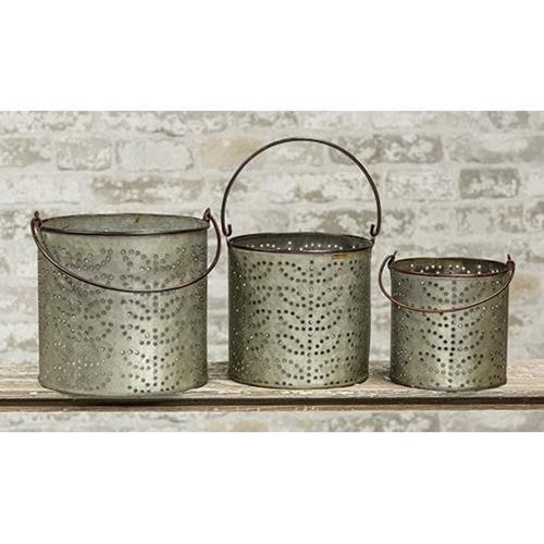 New Primitive Farmhouse Chic Rustic Metal Bucket Pail Can With Burlap Handles
