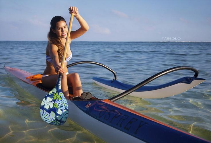 Traditional outrigger canoe, Hawaii.